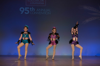 "Junior Talent Contest contestants Lola Stoffer, Marlee Harper and Mallory Whitney of West Carroll Parish danced to ""Shake a Tail Feather."""