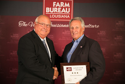 Allen Farm Bureau Parish member Ronnie Sonnier accepts the three Gold Star Award from Louisiana Farm Bureau President Ronnie Anderson. The award was presented at the 96th Annual Convention of the Louisiana Farm Bureau Federation in New Orleans.
