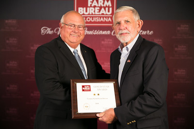 Vernon Farm Bureau Parish member Rusty Bales accepts the two Gold Star Award from Louisiana Farm Bureau President Ronnie Anderson. The award was presented at the 96th Annual Convention of the Louisiana Farm Bureau Federation in New Orleans.
