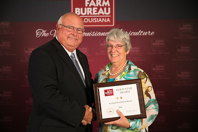 St. Charles Farm Bureau Parish President Joan Robbins accepts the two Gold Star Award from Louisiana Farm Bureau President Ronnie Anderson. The award was presented at the 96th Annual Convention of the Louisiana Farm Bureau Federation in New Orleans.