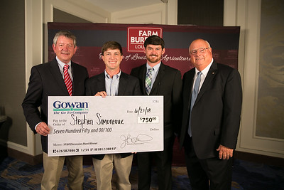 Stephen Simoneaux of Assumption Parish is named the 2018 Louisiana Farm Bureau Young Farmers and Ranchers Discussion Meet winner. Stephen will receive a variety of prizes, including a $750 cash award, courtesy of Gowan Company. Pictured with Stephen are, from left to right, Bobby Simoneaux, Eric Bergeron and Louisiana Farm Bureau President Ronnie Anderson.