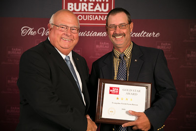 Evangeline Farm Bureau Parish President Scott Fontenot accepts the four Gold Star Award from Louisiana Farm Bureau President Ronnie Anderson. The award was presented at the 96th Annual Convention of the Louisiana Farm Bureau Federation in New Orleans.
