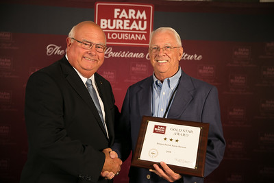 Bossier Farm Bureau Parish member Jerry McBride accepts the three Gold Star Award from Louisiana Farm Bureau President Ronnie Anderson. The award was presented at the 96th Annual Convention of the Louisiana Farm Bureau Federation in New Orleans.