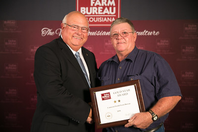 Cameron Farm Bureau Parish President James Cox accepts the two Gold Star Award from Louisiana Farm Bureau President Ronnie Anderson. The award was presented at the 96th Annual Convention of the Louisiana Farm Bureau Federation in New Orleans.