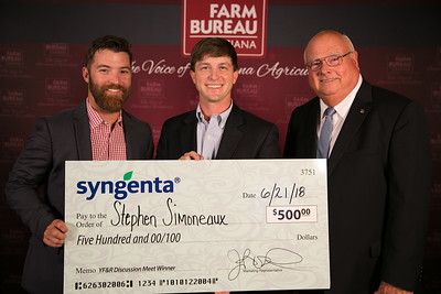 Stephen Simoneaux of Assumption Parish is named the 2018 Louisiana Farm Bureau Young Farmers and Ranchers Discussion Meet winner. Stephen will receive a variety of prizes, including a $500 cash award, courtesy of Syngenta. Pictured with Stephen are, from left to right, Syngenta representative Zac Lahaye and Louisiana Farm Bureau President Ronnie Anderson.