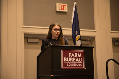 Sadie Wright of St. Martin Parish competes in the 2018 Talk Meet at the 96th Louisiana Farm Bureau Convention in New Orleans.