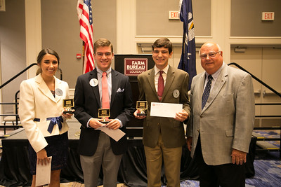 Pictured, from left to right, are third place winner Bailey Ann Nelson of Calcasieu Parish, second place winner Wesley Adolph of Assumption Parish, and first place winner Bret Lee of Vermilion Parish. Pictured with them are Louisiana Farm Bureau President Ronnie Anderson.