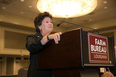 Louisiana Farm Bureau Women's Leadership Committee Ex-Officio address the Louisiana Farm Bureau Business Session, expressing her appreciation for Farm Bureau, on state and national levels, and how it has changed her life for the best.