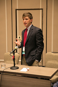 Stephen Simoneaux of Assumption Parish competes in the final round of the 2018 Young Farmers and Ranchers Discussion Meet held at the 96th Louisiana Farm Bureau Annual Meeting in New Orleans.