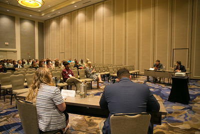 The finalists of the 2018 Young Farmers and Ranchers Discussion Meet compete in a packed room at the 96th Louisiana Farm Bureau Annual Convention.