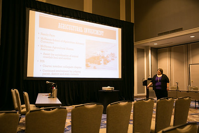2018 Excellence in Agriculture finalist Jennifer Compton of Jeff Davis Parish gives her Excellence in Ag presentation at the 96th Annual Convention of the Louisiana Farm Bureau Federation in New Orleans.