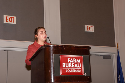 Annie Cramer of St. Martin Parish competes in the 2019 Talk Meet. She talks about how Farm Bureau can help farmers and ranchers provide consumers with accurate information about agriculture.