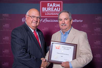 Webster Farm Bureau Parish President Joe Lynn Robinson accepts the one Gold Star Award from Louisiana Farm Bureau President Ronnie Anderson. The Award was presented at the 97th Annual Convention of the Louisiana Farm Bureau Federation in New Orleans.