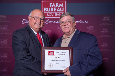 Cameron Farm Bureau Parish President James Cox accepts the two Gold Stars Award from Louisiana Farm Bureau President Ronnie Anderson. The Award was presented at the 97th Annual Convention of the Louisiana Farm Bureau Federation in New Orleans.