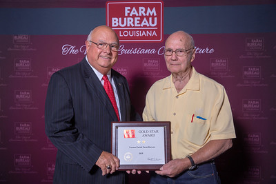 Vernon Farm Bureau Parish President G. A. Holaway accepts the two Gold Stars Award from Louisiana Farm Bureau President Ronnie Anderson. The Award was presented at the 97th Annual Convention of the Louisiana Farm Bureau Federation in New Orleans.