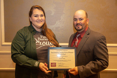 2019 Louisiana Farm Bureau Young Farmers and Ranchers Outstanding Young Farm Woman contestant Rachel Duncan of Rapides Parish receives her recognition certificate from Louisiana Farm Bureau Young Farmers and Ranchers state chair Matt Gravois at the 97th Annual Convention of the Louisiana Farm Bureau Federation in New Orleans.