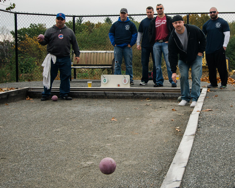 The inaugural bocce tournament between the Leominster Fire Association and Leominster Police Association was held in Leominster on Saturday morning. SENTINEL & ENTERPRISE / Ashley Green