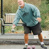 Greg Rydzefski plays in the inaugural bocce tournament between the Leominster Fire Association and Leominster Police Association on Saturday morning. SENTINEL & ENTERPRISE / Ashley Green