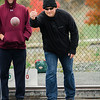John Fraher plays in the inaugural bocce tournament between the Leominster Fire Association and Leominster Police Association on Saturday morning. SENTINEL & ENTERPRISE / Ashley Green