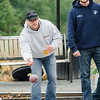John Monahan plays in the inaugural bocce tournament between the Leominster Fire Association and Leominster Police Association on Saturday morning. SENTINEL & ENTERPRISE / Ashley Green