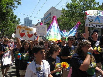 A photo of Campers from Camp Newman from the Jews March for Pride contingent in the 2009 San Francisco Pride Parade provided by Denise Ron, Jewish Community Federation North Peninsula Campaign Associate.