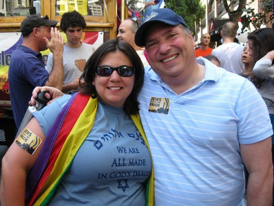 A photo of Denise Ron and Rabbi Ezray from Temple Beth Jacob from from the Jews March for Pride contingent in the 2009 San Francisco Pride Parade provided by Denise Ron, Jewish Community Federation North Peninsula Campaign Associate.