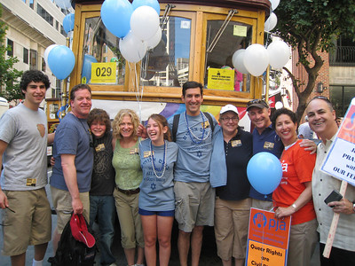 A photo from the Jews March for Pride contingent in the 2009 San Francisco Pride Parade provided by Denise Ron, Jewish Community Federation North Peninsula Campaign Associate.