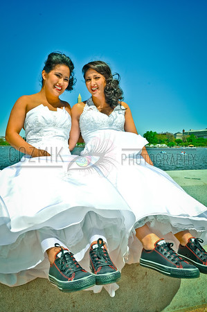 Vicki & Maria, April 2012, DC - Jefferson Memorial Cool brides with cool kicks!