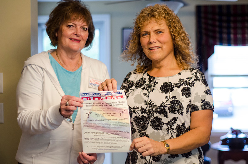 Donna Fiduccia and Gwen Meunier speak about the free firearms training to be held on October 8 for any member of the LGBTQ community. The training is being sponsored by the Leominster Republican Committee. SENTINEL & ENTERPRISE / Ashley Green