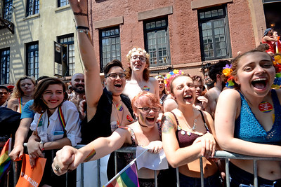 NEW YORK CITY - JUNE 26:  Large crowds gather for the annual LGBT Pride March in Manhattan on June 26, 2016. Photo by Lukas Maverick Greyson