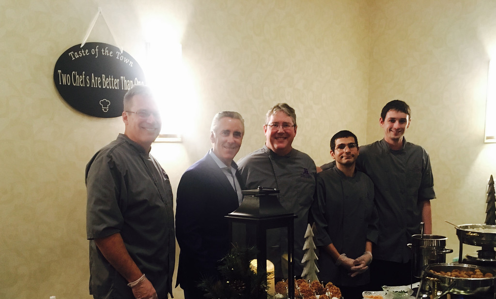 . Celebrity guest Billy Costa, second from left, with the crew from Two Chefs Are Better Than One