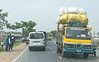 The big trucks are just as overloaded as the rickshaws. Again: no overpasses.