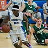 Leominster's Givensky Pierre-Louis in action during the game against Nashoba at LHS on Tuesday, January 31, 2017. SENTINEL & ENTERPRISE / Ashley Green