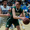 Leominster's James Purcell and Nashoba's Connor Ojerholm in action during the game at LHS on Tuesday, January 31, 2017. SENTINEL & ENTERPRISE / Ashley Green