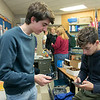 Leominster High School S.T.U.M.P. (Students for Transparency and Understanding of Municipal Politics) program met on Thursday morning, Nov. 21, 2019 before school. Working on their phones during the meeting is junior William Lefebure and senior Andrew Sanchez, sitting.  SENTINEL & ENTERPRISE/JOHN LOVE