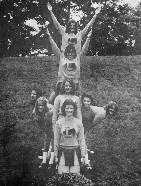 Cheerleaders - Pam Shimrak, Vickie Teater, Tracy Deiderich, Lorie Caldwell, Patty Faber, Karen Spellacy, Katie Wochkovich, Judy Saleet. Advisor, Sharon Thompson (not pictured)