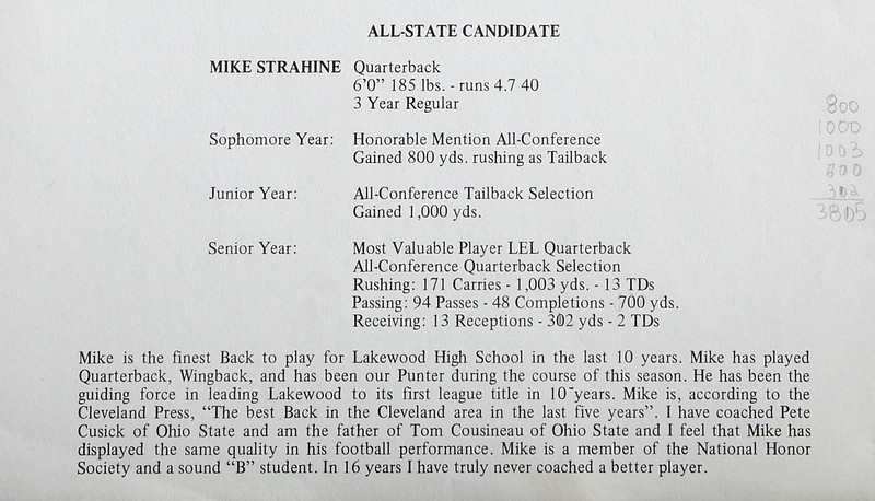 Mike Strahine - All-State Candidate - Most Valuable Player in LEL
