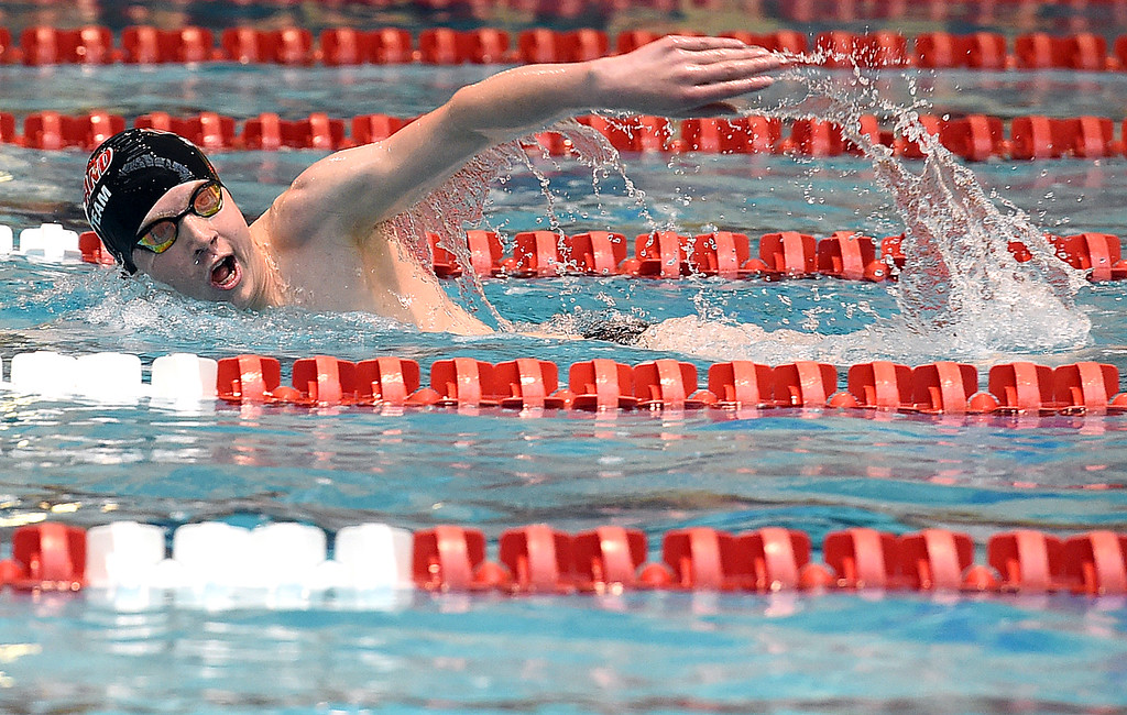 . Loveland High\'s Jakob Borrman swims the 500 freestyle Friday, May 12, 2017, during the Front Range League Championships at Veterans Memorial Aquatic Center in Thornton. (Photo by Jenny Sparks/Loveland Reporter-Herald)
