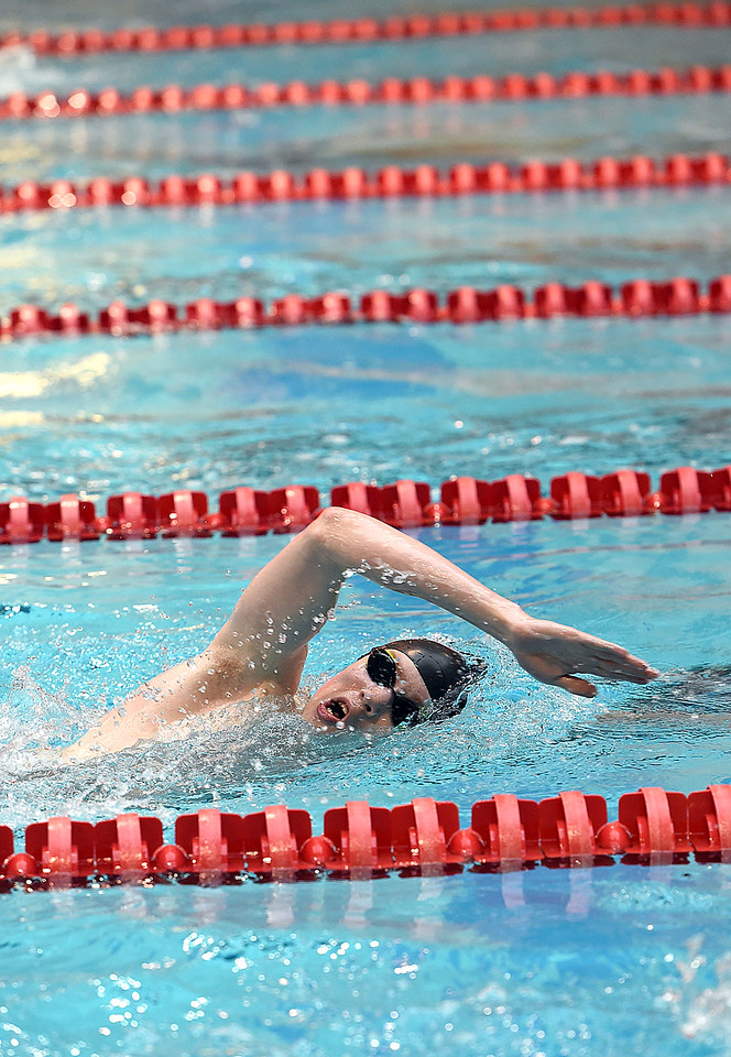 Loveland High's Jack Curtis swims the 500 freestyle Friday, May 12, 2017, during the Front Range League Championships at Veterans Memorial Aquatic Center in Thornton. (Photo by Jenny Sparks/Loveland Reporter-Herald)