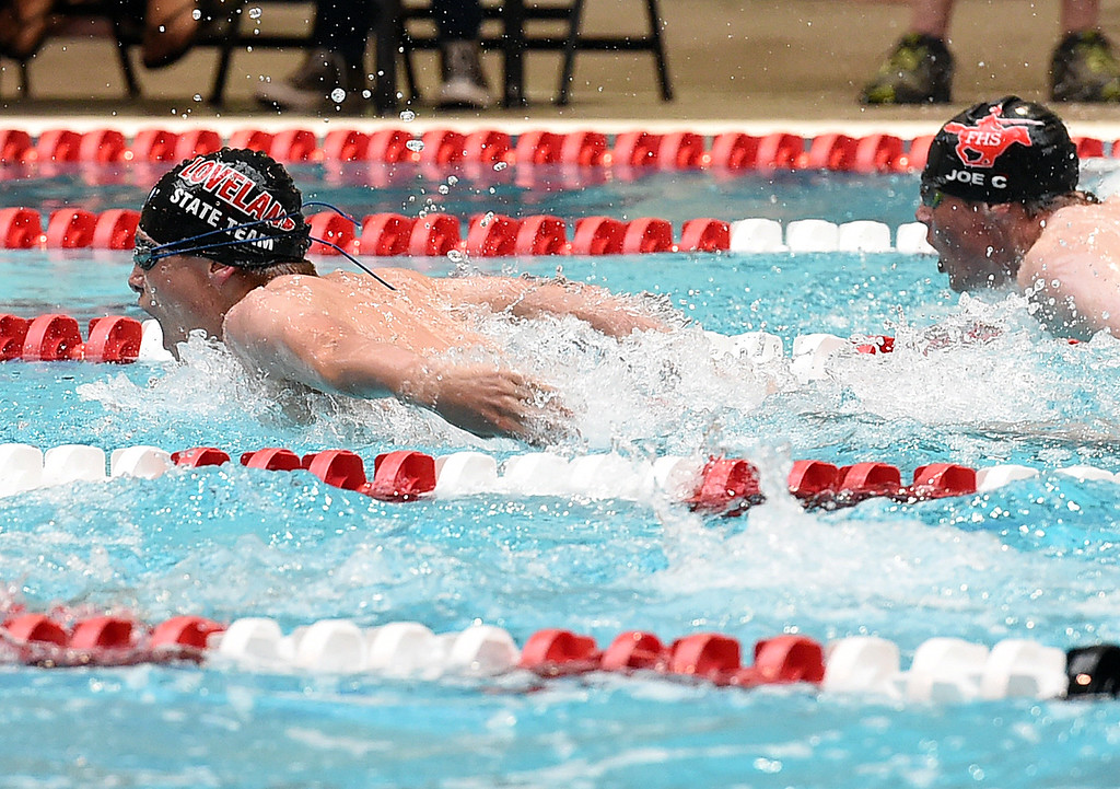 . Loveland High\'s Aidan Duncan swims the 100 yard butterfly Friday, May 12, 2017, during the Front Range League Championships at Veterans Memorial Aquatic Center in Thornton. (Photo by Jenny Sparks/Loveland Reporter-Herald)