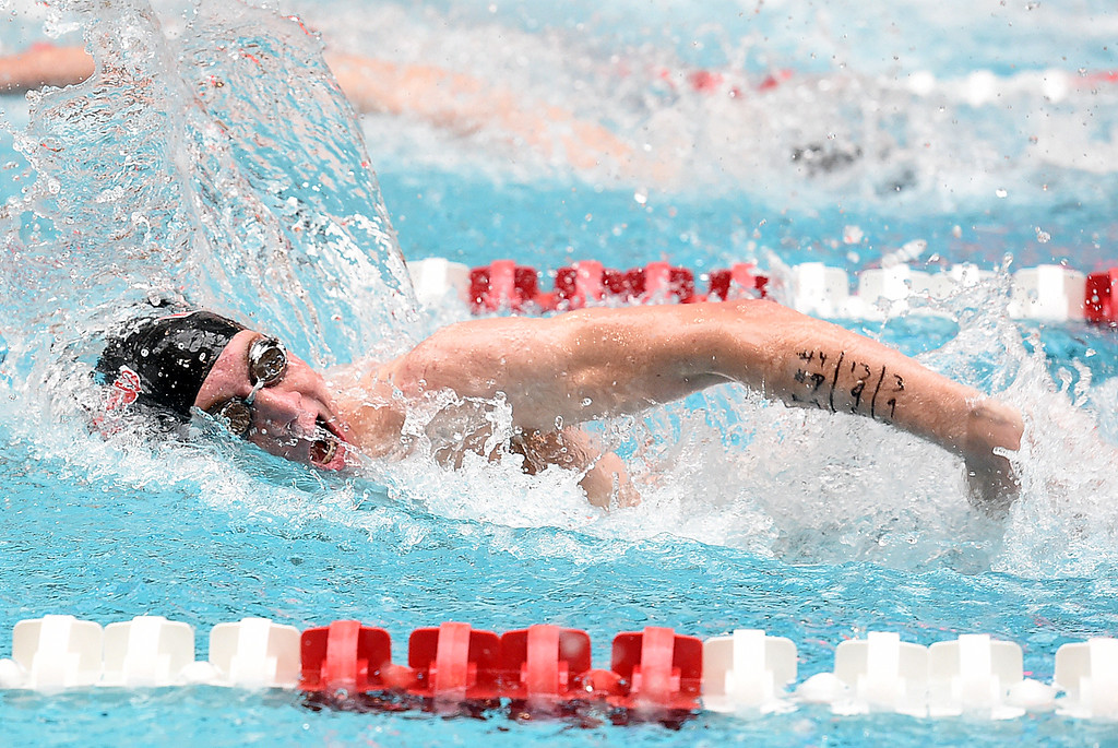 . Loveland High\'s Mathew Dennis swims the 50 freestyle Friday, May 12, 2017, during the Front Range League Championships at Veterans Memorial Aquatic Center in Thornton. (Photo by Jenny Sparks/Loveland Reporter-Herald)