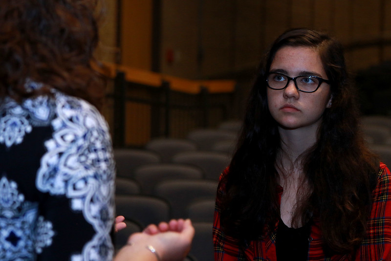 Leominster High School's Students for Transparency and Understanding of Municipal Politics (STUMP) held a debate for Democratic candidate Representative Natalie Higgins and Republican candidate Richard Palmieri. SSenior Claire Higginson chats with Higgins after the event. ENTINEL & ENTERPRISE/JOHN LOVE