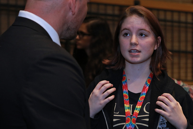 Leominster High School's Students for Transparency and Understanding of Municipal Politics (STUMP) held a debate for Democratic candidate Representative Natalie Higgins and Republican candidate Richard Palmieri. Senior Julia Wilson chats with Palmieri after the event. SENTINEL & ENTERPRISE/JOHN LOVE