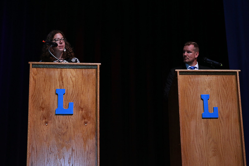 Leominster High School's Students for Transparency and Understanding of Municipal Politics (STUMP) held a debate for Democratic candidate Representative Natalie Higgins and Republican candidate Richard Palmieri. SENTINEL & ENTERPRISE/JOHN LOVE