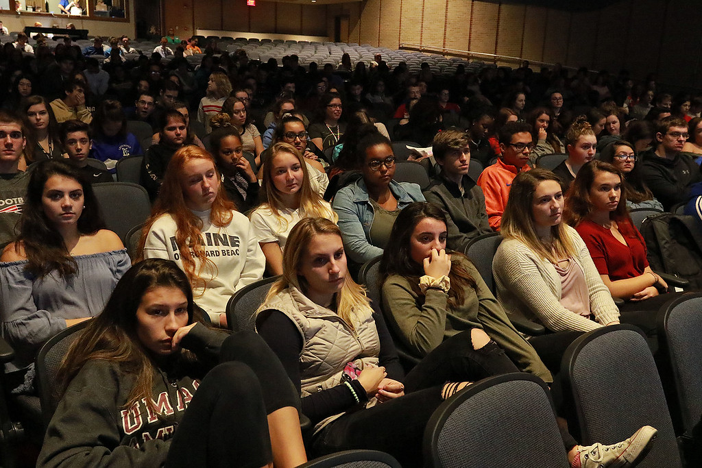 . Leominster High School\'s Students for Transparency and Understanding of Municipal Politics (STUMP) held a debate for Democratic candidate Representative Natalie Higgins and Republican candidate Richard Palmieri. Students listen to the candidates. SENTINEL & ENTERPRISE/JOHN LOVE