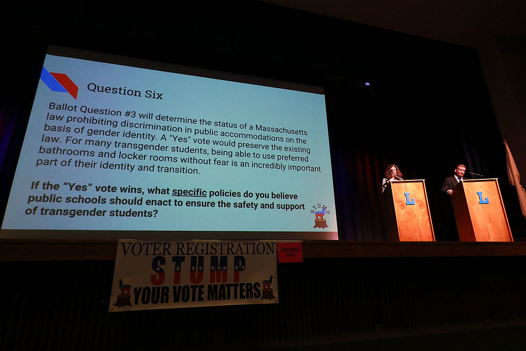 . Leominster High School\'s Students for Transparency and Understanding of Municipal Politics (STUMP) held a debate for Democratic candidate Representative Natalie Higgins and Republican candidate Richard Palmieri. SENTINEL & ENTERPRISE/JOHN LOVE