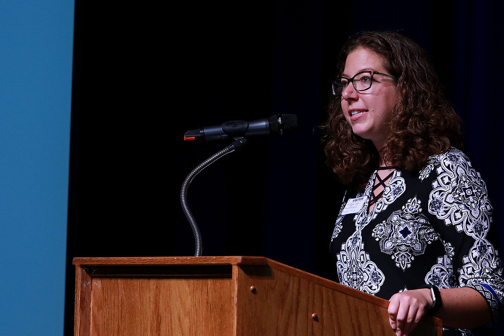 . Leominster High School\'s Students for Transparency and Understanding of Municipal Politics (STUMP) held a debate for Democratic candidate Representative Natalie Higgins and Republican candidate Richard Palmieri. Higgins addresses the students at the debate Tuesday morning, October 9, 2018. SENTINEL & ENTERPRISE/JOHN LOVE