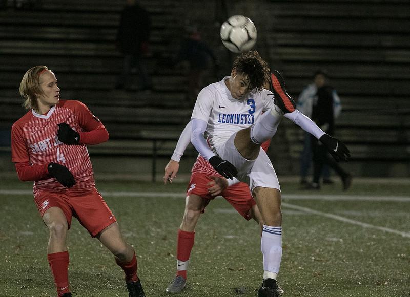 Leominster High School boys soccer played Saint John's High School for the Central Mass. Division 1 championship on Thursdsay night at Doyle Field in Leominster. LHS's #3 Daniel Valente. SENTINEL & ENTERPRISE/JOHN LOVE