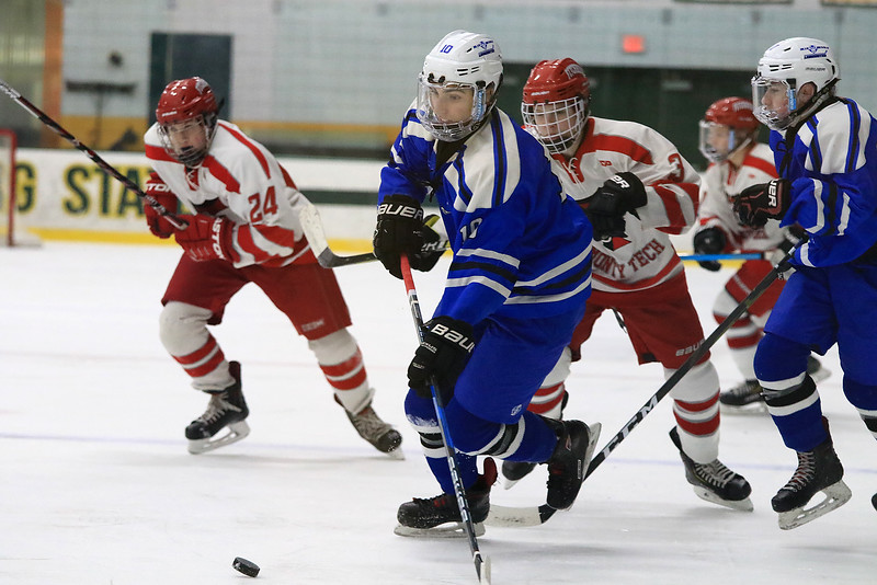 Leominster High School Hockey played Fitchburg/Monty Tech during the Mark Bushnoe Memorial Christmas Tournament on Thursday, December 27, 2018 at the Wallace Civic Center, Fitchburg. LHS's Colby Doiron takes control of the puck. Leominster won, 2-1 in overtime, to advance to Friday's final against Assabet Valley. SENTINEL & ENTERPRISE/JOHN LOVE