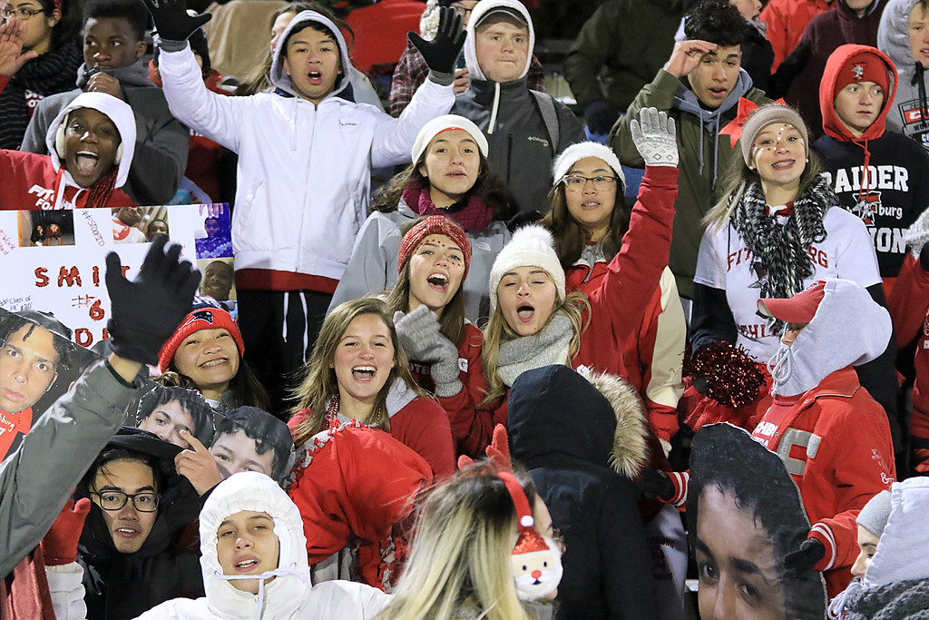 . The Thanksgiving day game with Leominster High School vs Fitchburg High School was played at  Doyle Field in Leomiinster on Wednesday night, November 21, 2018. Fitchburg High School fans cheer during action in the game. SENTINEL & ENTERPRISE/JOHN LOVE